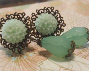 Bohemian Mint Jade Green Plugs Guages Wedding Prom 7/16ths, 1/2g, 9/16ths t8