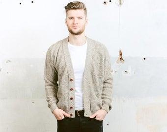 Aran Knit Cardigan Sweater . Mens Vintage 90s Sweater Wool Knitwear Button Down Cozy Beige Vneck Sweater . size Large L