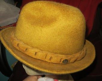 Vintage  50S  Men's Golden Beaver Fur Stetson Challenger Fedora Hat  Sz 7 1/4