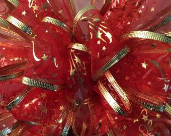 Big Bow Sheer Red Golden Edge Tree Topper Wreath Wall Decor Mantel Christmas New Year Mantel Decor Wedding Ready to ship