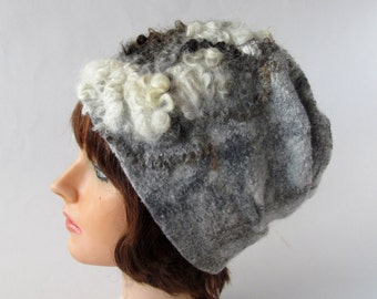 Felted hat, Grey wool hat, Felt winter warm hat,  Grey White Wool Hat Unisex, Warm felt hat Grey felted hat