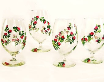 Mother's Day Gifts, Ready to Ship -  Hand-Painted Iced Tea Beverage Juice Glasses Set of 4 - Cheery Red Roses, Green Leaves - Water Glass