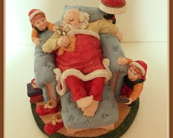 Santa Claus Sleeping Figurine, Elves, Chair, Ottoman, Books, Mug,  Heavy, 4 lbs. Dated, Vintage 1992