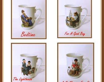 Norman Rockwell Coffee Cups, Set of 4,  Stamped Seal of Authenticity, Vintage 1982