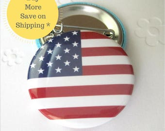 Country Flag, American Flag, USA Flag Magnets, Backpack Flag Pin, Badge, Pin back Button Gift, 1.5 inch (38mm) Button OR Magnet