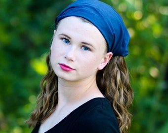 Headscarf Modest, Navy Blue Head Scarf, Alopecia Hair Scarf, Head Scarf Headcovering, Dark Blue Hair Loss Head Scarf (#2606) S M L X
