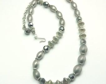 Gray Crystal Necklace Vintage Single Strand Metallic Bead Necklace