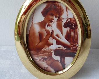 Framed Vintage Pin Up, Nubile Woman, Vintage Lingerie, Undress, Reproduction Erotic Vintage Photo in a Vintage Brass Frame