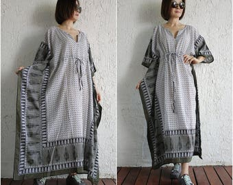 Black White Dark Green Printed Light Cotton Kaftan Dress Poncho Dress Drawstring Empire Waist Women Tops Maxi Dress Can Fit Up To Size20