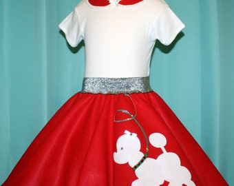New! Special Edition Christmas Prancing poodle skirt Your choice of Size Toddler,Girls,Adults & Poodle Color Prices from 18.00 and Up!