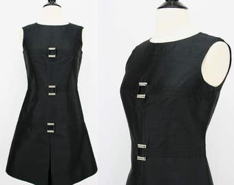 "60s Vintage Dress Black Silk Shantung Sleeveless Sheath Crown Colony Hong Kong Rhinestone Accent "" Buckles "" Metal Zipper Mod 1960s Dresses"