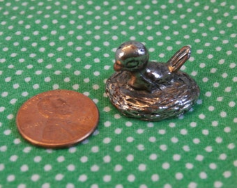 Bird on Nest Miniature Figurine, Silver Toned Metal less than 1 inch tall