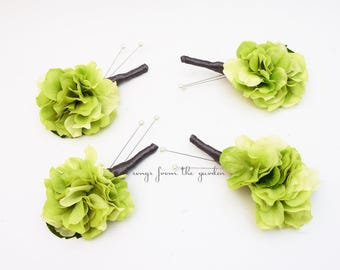 Green Real Touch Hydrangea Charcoal Ribbon Boutonniere Buttonhole Groom Groomsmen Wedding Flower Package - Customize Your Wedding Colors