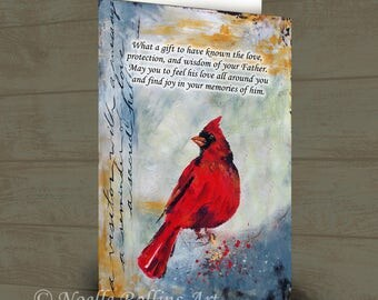 card after dad has passed for Fathers day or deceased fathers birthday wedding day without dad remembrance after dad passed red cardinal
