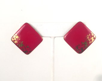 Vintage 1980s Red and Gold Square Earrings