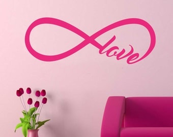 Romantic Love Infinity Knot Decal, Vinyl Wall Lettering, Vinyl Wall Decals, Vinyl Letters, Wall Quotes, Love Quote, Valentine Decal