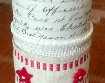 Decorative candle, hand decorated, with Antique Ledger Papers (ca 1912) and trim