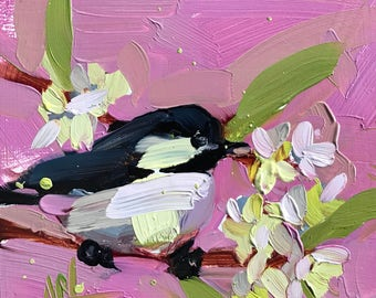 Chickadee no. 924 Original Bird Oil Painting by Angela Moulton 6 x 6 inch on Panel pre-order