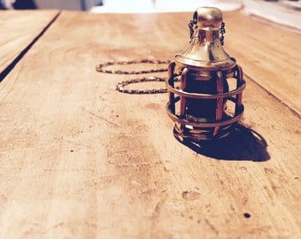 cute and romantic brass vintage red marine lamp pendant necklace, long soldered antique style chain