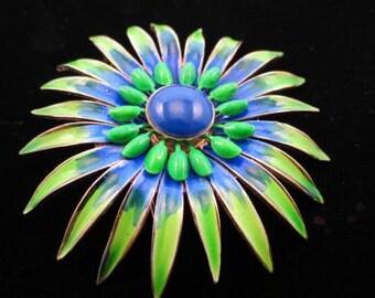 Large Vendome Green Cobalt Blue Enamel Flower Brooch Blue Cabochon