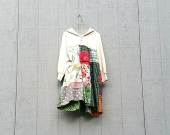 Hoodie Sweatshirt Upcycled Clothing Tunic Dress Gift Bird Cotton Knit Patchwork funky upcycled boho gypsy  wearable art dress by CreoleSha