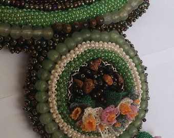 Bead Crochet, Embellishment with Turkish Lace (Oya) Necklace