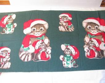 Vintage Christmas Fabric - Santa Kitty and Santa Mouse to Sew and Stuff - Wamsutta / Hallmark Cards Inc.