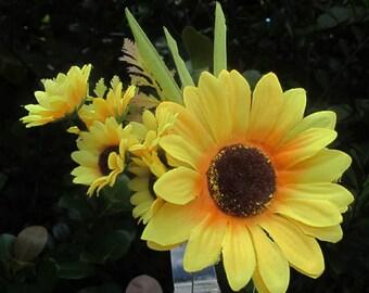 Yellow Sunflower hair flower Cluster hair clip