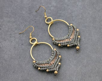 Beaded Earrings Woven Brown Taupe Drop Leaf