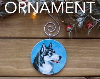 Husky Ornament, Christmas Tree Decoration, Tree Ornament, Vintage Ornament, Dog Gift, Christmas Gift, Stocking Stuffer, Free Shipping