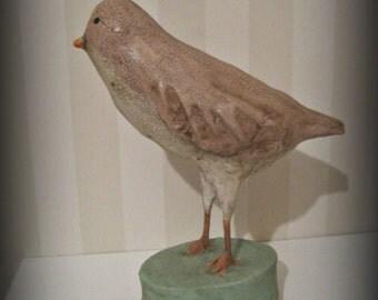 Pink folk art bird papier mache bird sculpture paper mache