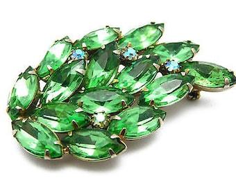 Vintage Rhinestone Leaf Brooch Peridot Green Marquise & Aurora Borealis Stones