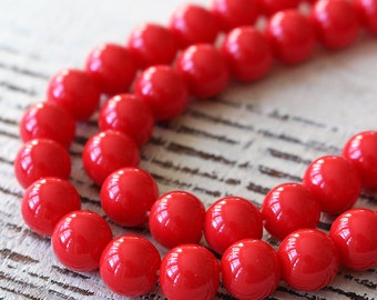 8mm Round Glass Beads  - Jewelry Making Supplies -  Craft Supplies (20 beads) Classic Lipstick Red