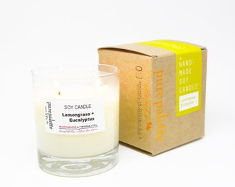 Lemongrass Eucalyptus Aromatherapy Spa Soy Candle in Copper Stamped Kraft Box - Free Shipping