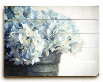 Hydrangea Photo, Wood Plank Art, Wooden Sign, Photo of Hydrangeas, Country Decor, Farmhouse Decor, Blue Flower Photo, French Country Decor