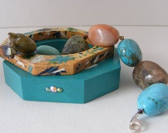 Multi Gem Stone Bracelet with Swarovski Crystals