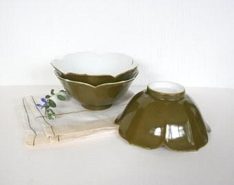 Three vintage lotus bowls. Porcelain bowls, khaki bowls, lotus flower, made in Japan, rice bowls, Asian porcelain bowls, set of three