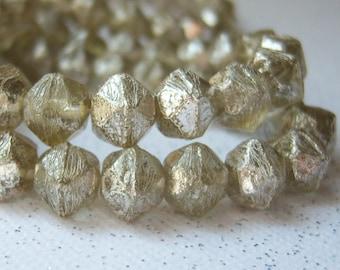 Czech 8mm English cut glass beads with smokey silver finish (20) per lot -  MZ150
