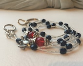 Navy and Red Airplane ID Badge Lanyard with detachable clasp
