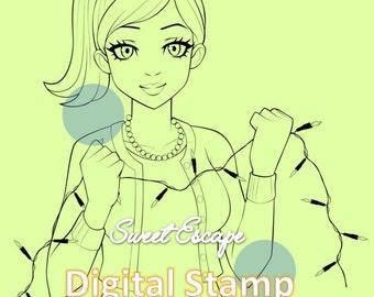 Christmas Lights Digital Stamp