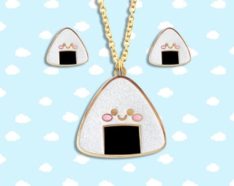 Kawaii Onigiri Rice Ball Jewelry - Hard Enamel with Glitter Earrings Pendant