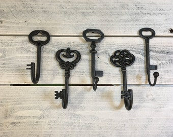 Set of 5 Key Hooks - Cast Iron - Wall Decor - You Pick Color