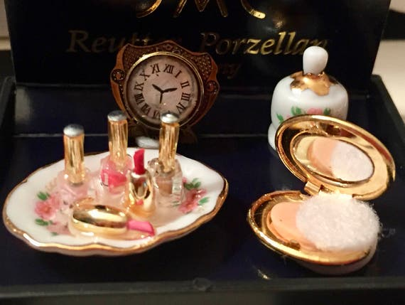 NEW Miniature Perfume and Compact Set, Vanity Dresser Set by Reutter, Dollhouse Miniatures, 1:12 Scale, Nail Polish, Tray, Compact, Clock