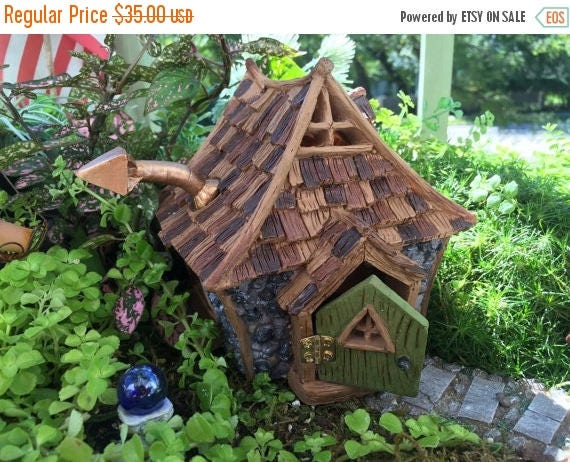 """SALE Fairy Garden House, Miniature Cottage, """"Shingletown Cottage"""" With Hinged Open & Close Door, Miniature Gardening, Home and Garden Decor"""