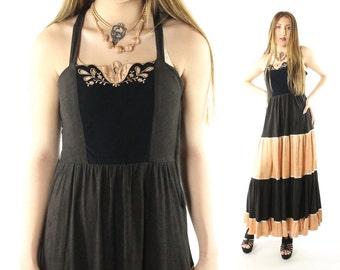 Vintage 70s Young Edwardian Maxi Dress Hippie Boho Festival Sleeveless Full Skirt 1970s Medium M Black Peach Sundress