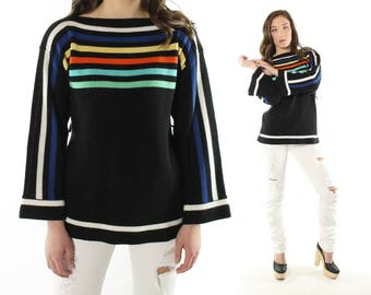 Vintage 70s Rainbow Sweater Bell Sleeve Black Knit Pullover 1970s Large L Hippie Boho Queens Way Fashions