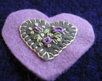 Embroidered floral wool felt heart ornament/pin - sage green on lavender base with lavender roses