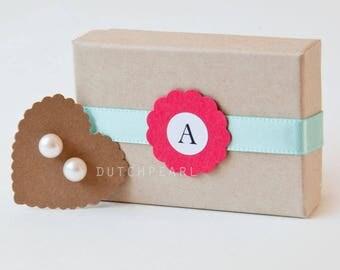 5 pairs - SMALL PEARL EARRINGS - 6 mm genuine pearl earrings personalized monogram gift box  bridesmaid gift monogram freshwater dutchpearl