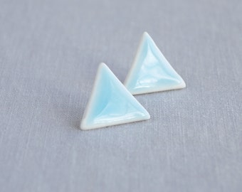 Large TRIANGLE stud earrings. White porcelain, cerulean blue ceramic glaze, surgical steel posts, trending geometric jewellery