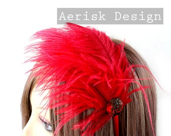 Ruby Red Ostrich feather fascinator (5 fastener, 5 color option) Ameline headband,mardi gras,kentucky derby,carnivale,vegas bachelorette
